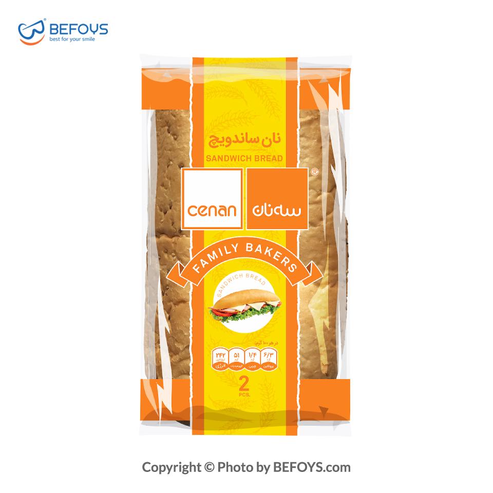 نان ساندویچ کارتنی سه نان 16 بسته ای 300 گرمی