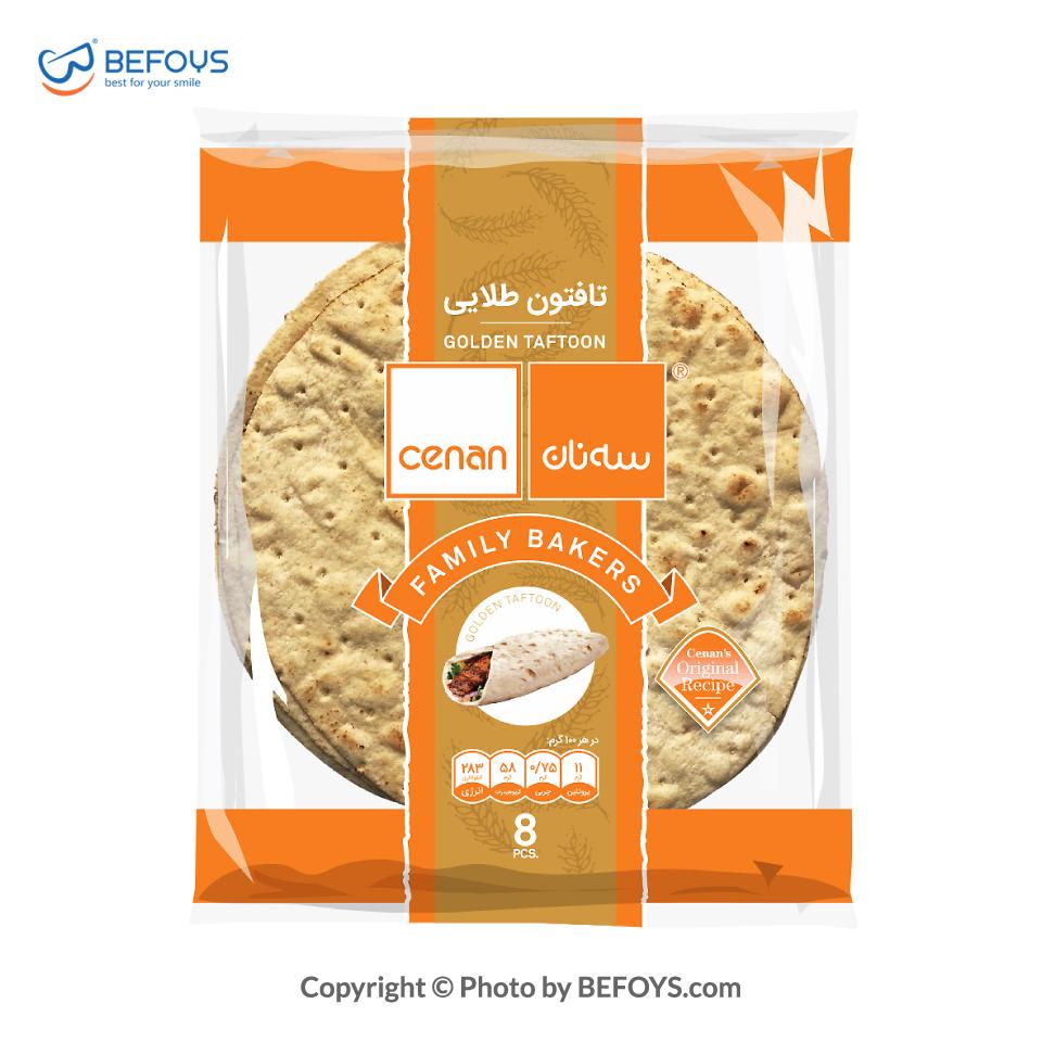 نان تافتون کارتنی طلایی سه نان 20 بسته ای 8 عددی 450 گرمی
