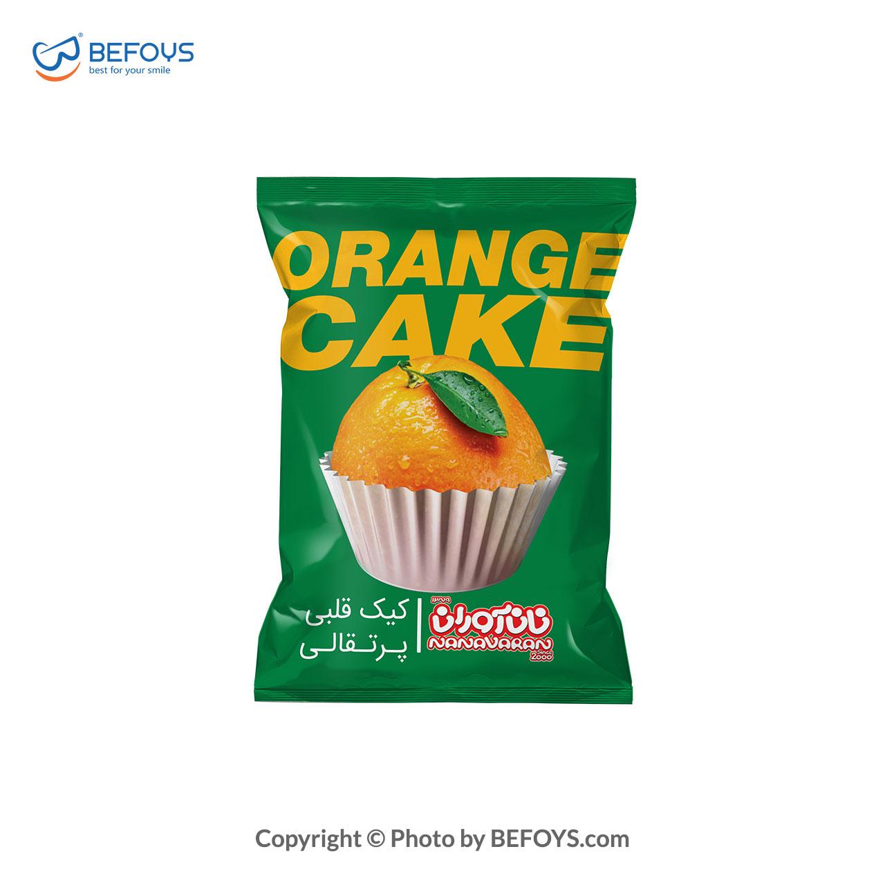 کیک قلبی پرتقالی کارتنی  نان آوران 26 بسته ای 60 گرمی