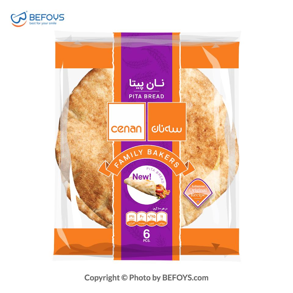نان پیتا کارتنی سه نان 20 بسته ای 6 عددی 370 گرمی