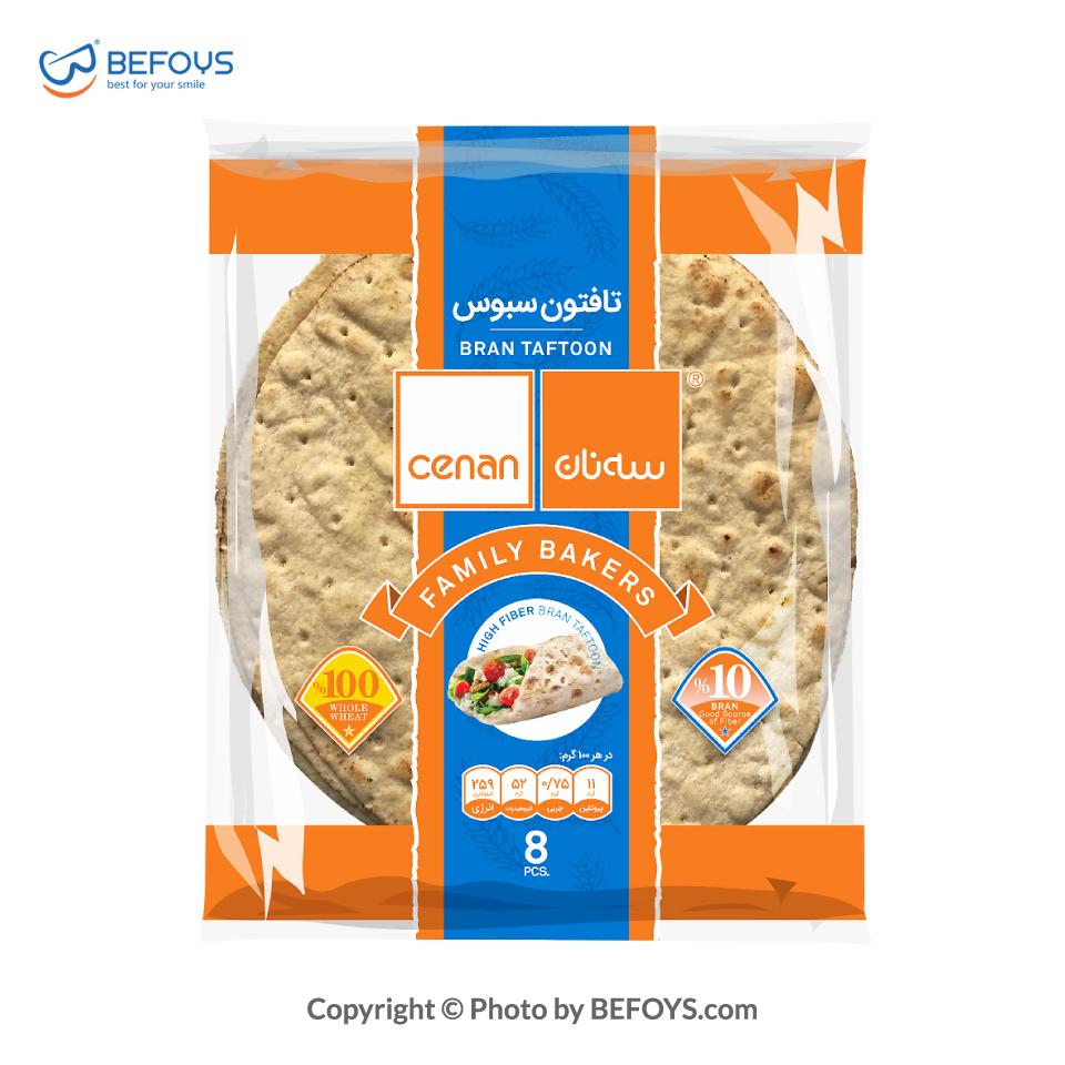 نان تافتون کارتنی سبوس دار سه نان 20 بسته ای 8 عددی 450 گرمی